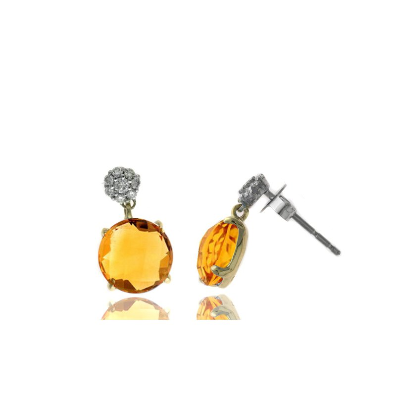 Lauray's Signature Collection Yellow Gold Citrine and Diamond Earrings