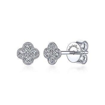 White Gold Diamond Flower Stud Earrings