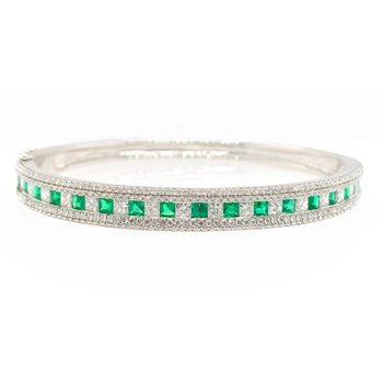 White Gold Emerald and Diamond Bracelet