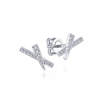 Tapered X Diamond Stud Earrings