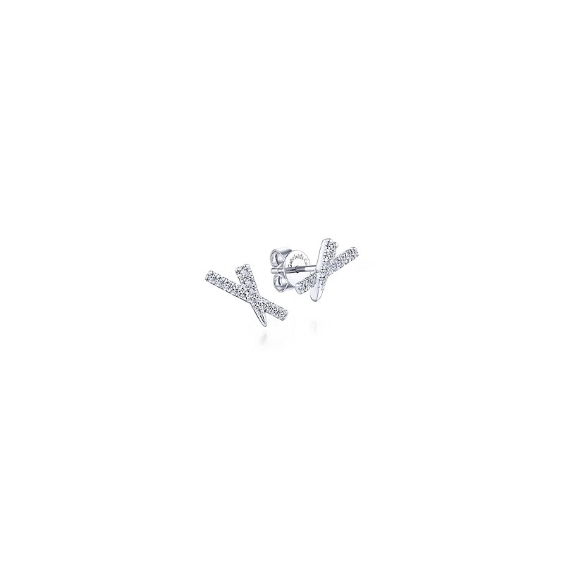 Gabriel Catalog Tapered X Diamond Stud Earrings