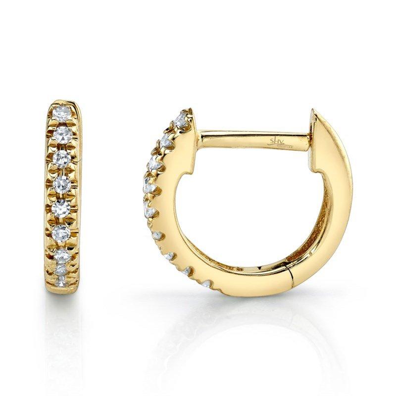 Shy Creation Yellow Gold Diamond Huggie Earrings