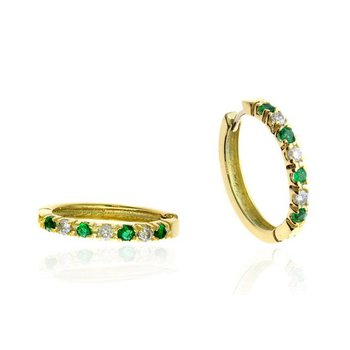 Yellow Gold Diamond and Emerald Hoop Earrings