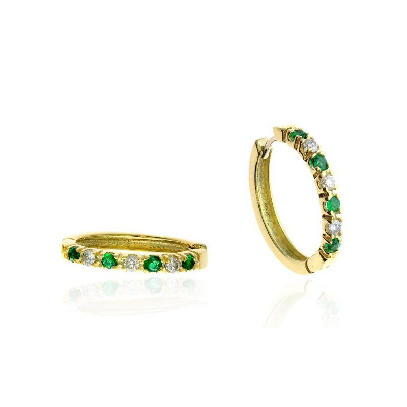 Lauray's Signature Collection Yellow Gold Diamond and Emerald Hoop Earrings