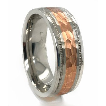 Cobalt Chrome Milgrain Rose Gold Band