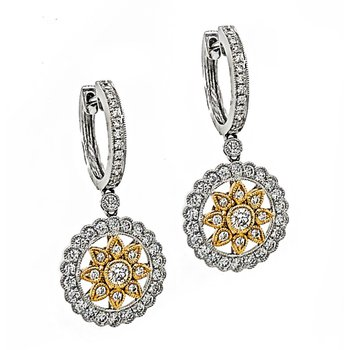 Yellow & White Gold Diamond Dangle Earrings