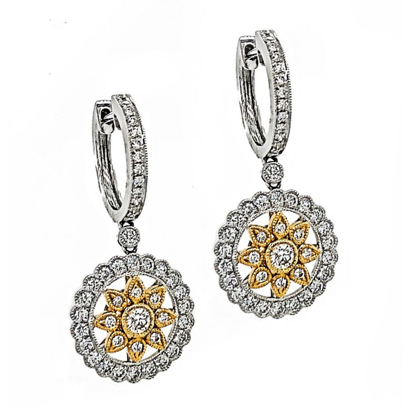 Lauray's Signature Collection Yellow & White Gold Diamond Dangle Earrings