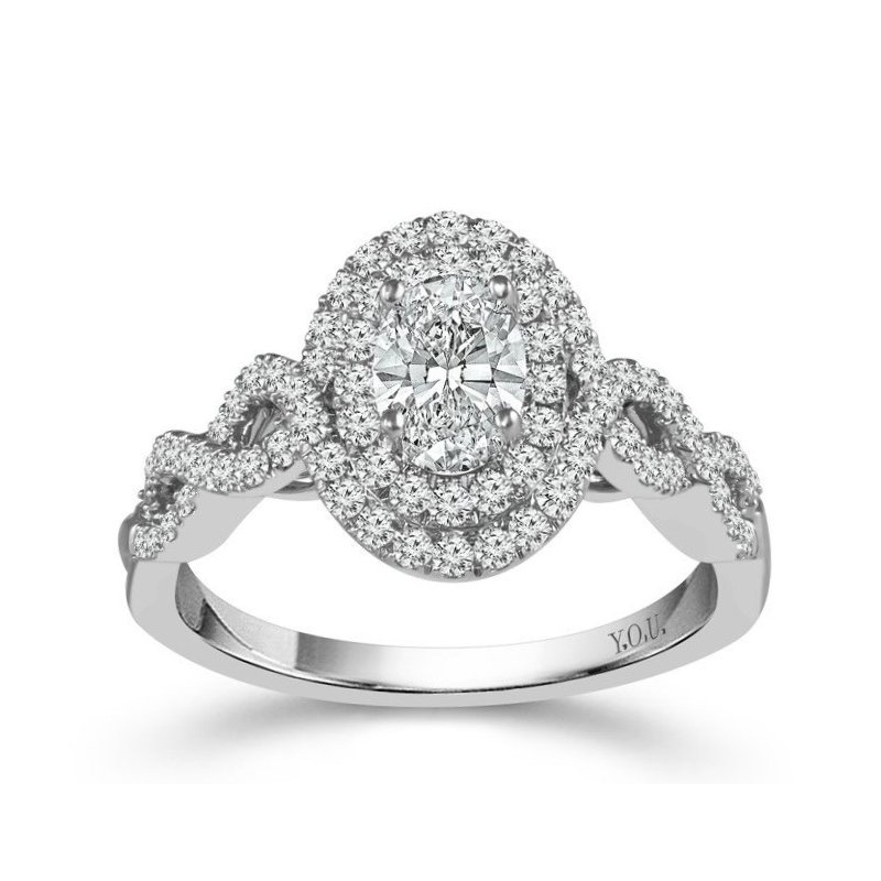 Lauray's Signature Collection Infinity Double Halo Oval Diamond Ring