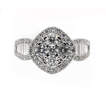 White Gold Baguette Diamond Fashion Ring