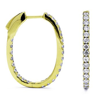 Yellow Gold Diamond In/Out Hoop Earrings