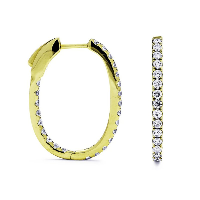 Lauray's Signature Collection Yellow Gold Diamond In/Out Hoop Earrings