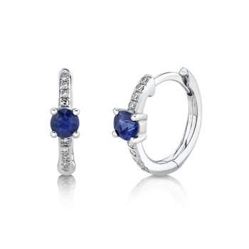 White Gold Diamond and Blue Sapphire Huggie Earrings