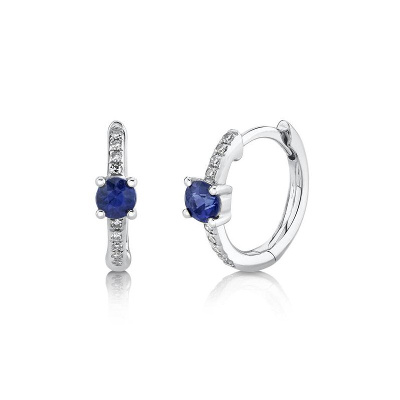 Shy Creation White Gold Diamond and Blue Sapphire Huggie Earrings