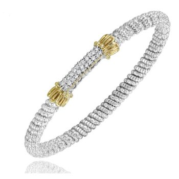 Yellow Gold and Sterling Silver Diamond Bangle Bracelet