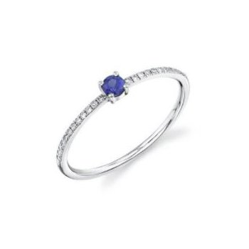 White Gold Blue Sapphire & Diamond Ring