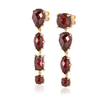 Garnet Mismatch Dangle Earrings