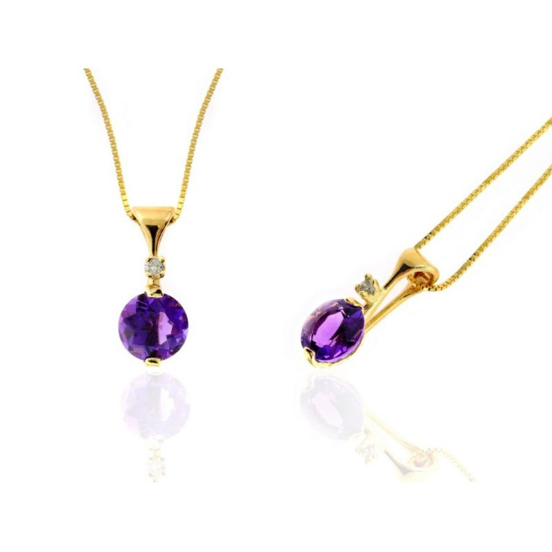 Lauray's Signature Collection Yellow Gold Amethyst and Diamond Necklace