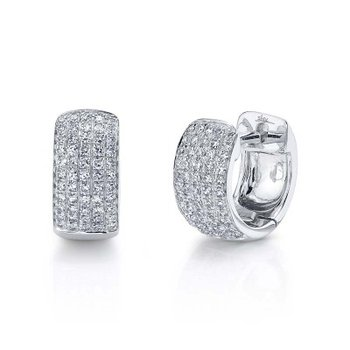 White Gold Diamond Pave Huggie Earrings