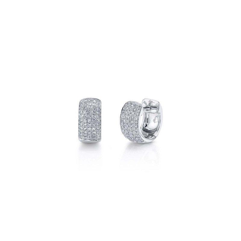 Shy Creation White Gold Diamond Pave Huggie Earrings