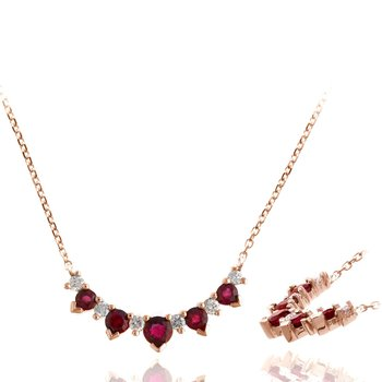 Rose Gold Pink Sapphire and Diamond Necklace