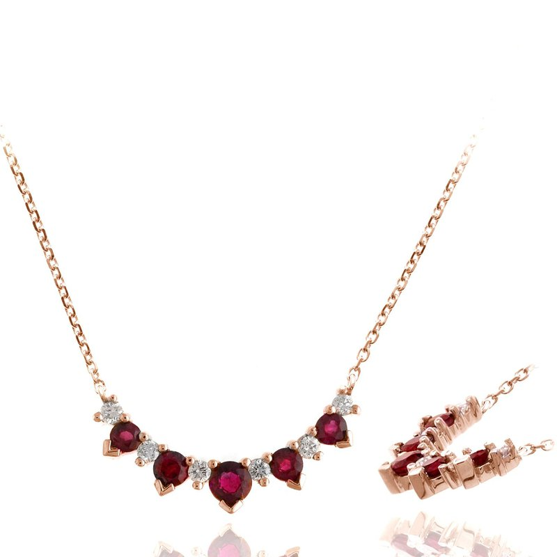 Lauray's Signature Collection Rose Gold Pink Sapphire and Diamond Necklace