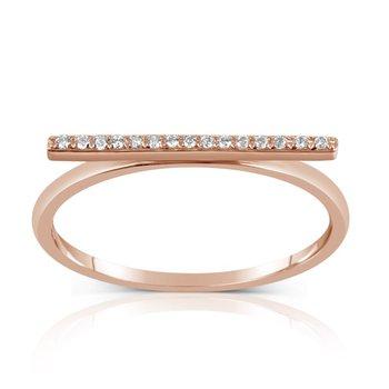 Rose Gold Diamond Bar Ring