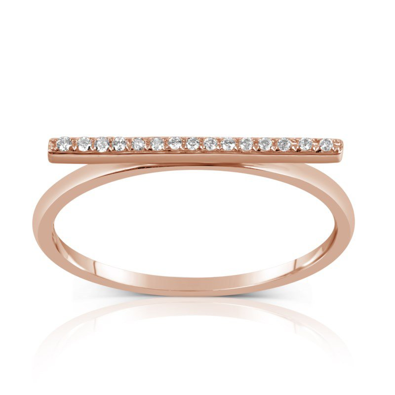 Lauray's Signature Collection Rose Gold Diamond Bar Ring