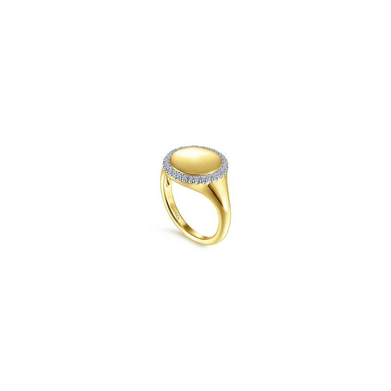 Gabriel Catalog Pinky Signet Ring with Diamond Halo