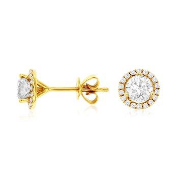Yellow Gold Diamond Halo Stud Earrings