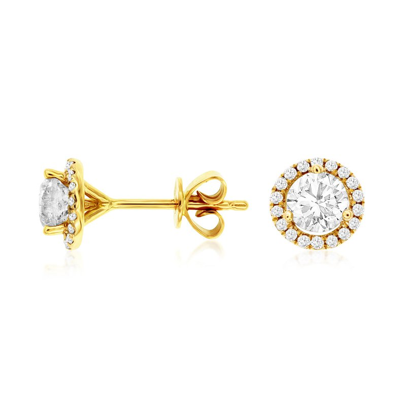 Lauray's Signature Collection Yellow Gold Diamond Halo Stud Earrings