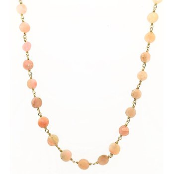 Coin Shaped Pink Opal Necklace