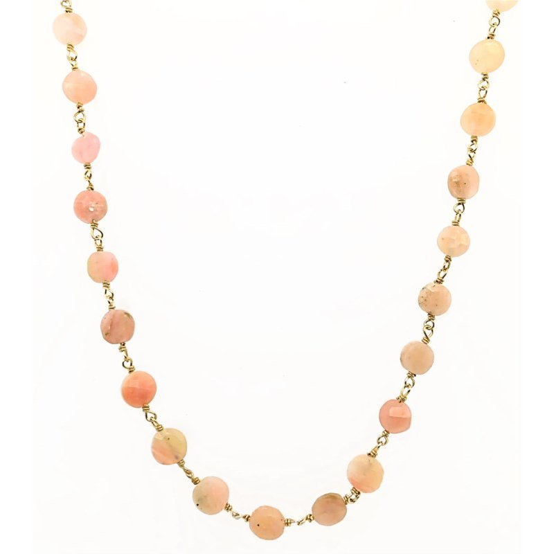 ela rae new york city Coin Shaped Pink Opal Necklace