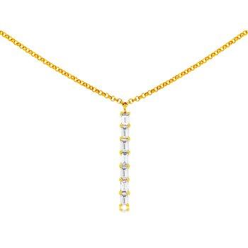 Yellow Gold Baguette Diamond Necklace