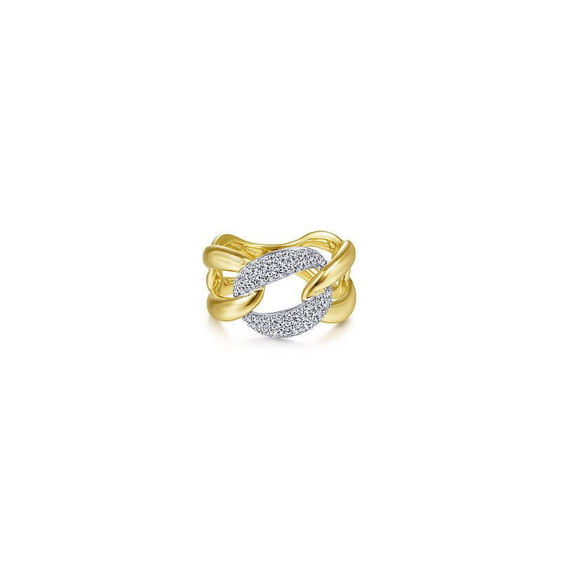 Gabriel & Co Large Chain Link Diamond Station Ring