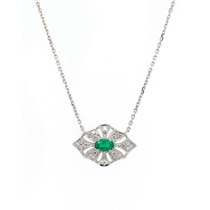 Lauray's Signature Collection White Gold Emerald and Diamond Necklace