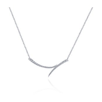 Curved Bypass Bar Necklace with Diamonds