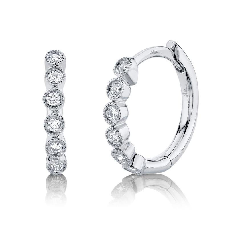 Shy Creation White Gold Diamond Huggie Earrings