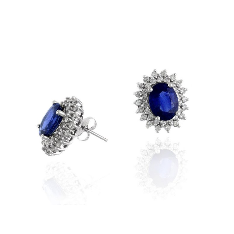 Lauray's Signature Collection White Gold Sapphire and Diamond Stud Earrings