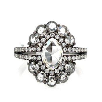 White Gold and Black Rhodium Fashion Ring