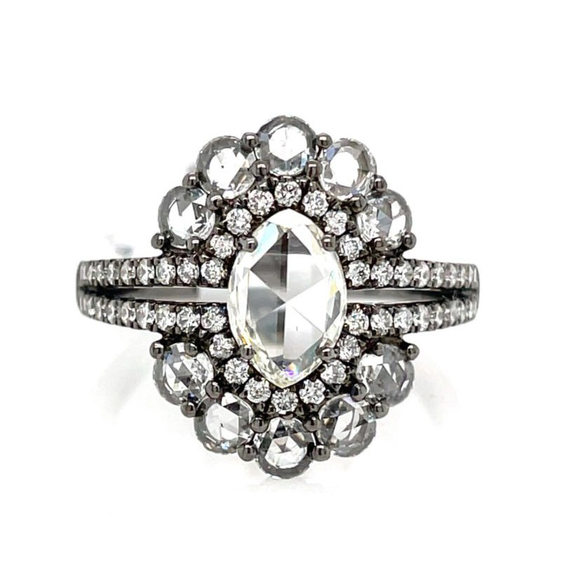 Lauray's Signature Collection White Gold and Black Rhodium Fashion Ring