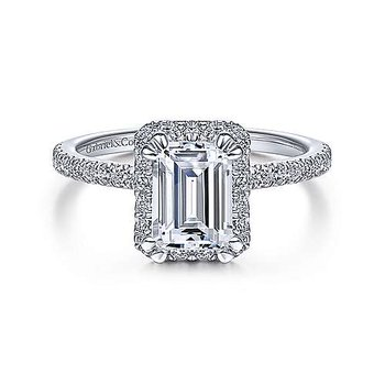 White Gold Halo Emerald Cut Diamond Semi Mounting