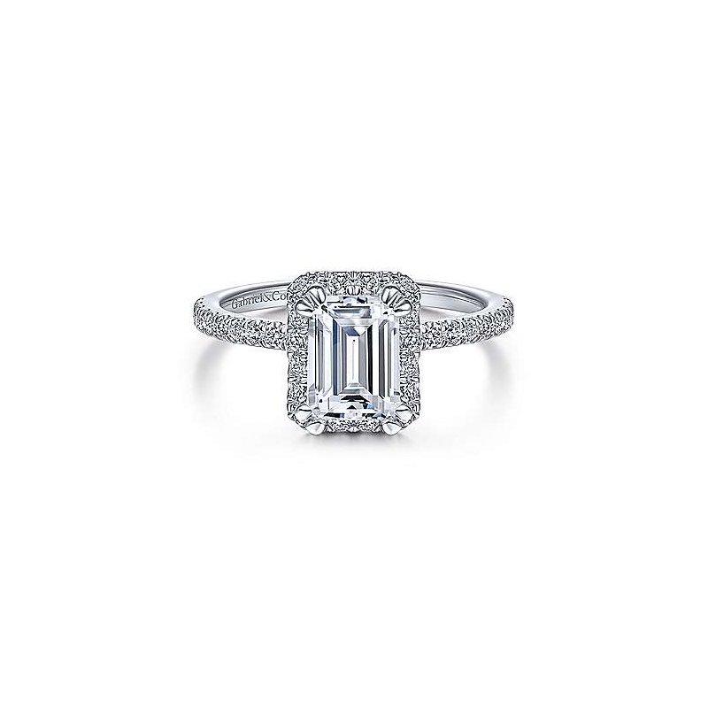 Gabriel & Co White Gold Halo Emerald Cut Diamond Semi Mounting