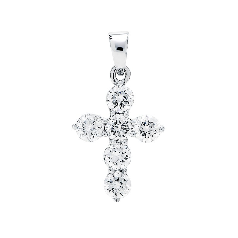 Lauray's Signature Collection White Gold Cross Diamond Pendant
