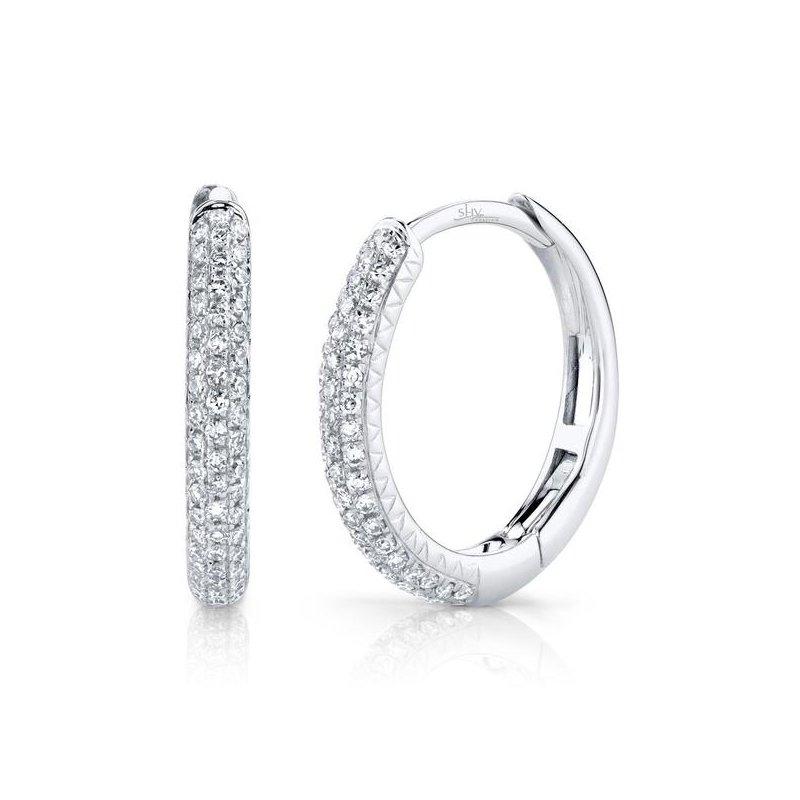 Shy Creation White Gold Diamond Pave Hoop Earrings