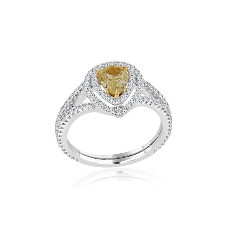 Lauray's Signature Collection White Gold Yellow Diamond Ring