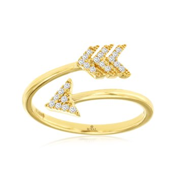 Yellow Gold Diamond Arrow Fashion Ring