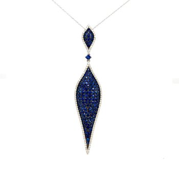 White Gold Blue Sapphire and Diamond Necklace