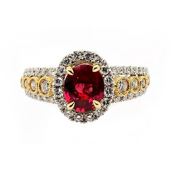 Two Tone Gold Ruby Ring