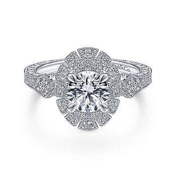 White Gold Art Deco Halo Diamond Engagement Ring