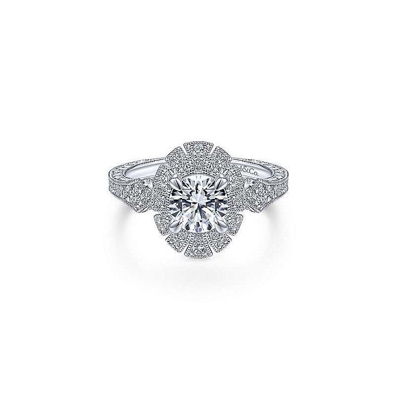 Gabriel Catalog White Gold Art Deco Halo Diamond Engagement Ring